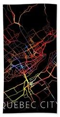 Quebec City Canada Watercolor City Street Map Dark Mode Beach Towel
