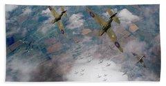 Raf Spitfires Swoop On Heinkels In Battle Of Britain Beach Sheet