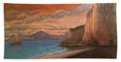Beach Towel featuring the painting Railay Beach, Krabi Thailand by Tom Roderick