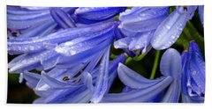 Rain Drops On Blue Flower II Beach Towel