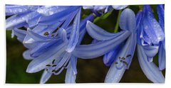 Rain Drops On Blue Flower Beach Towel