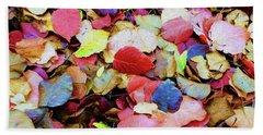 Rainbow Autumn Leaves Painterly Beach Towel