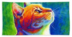 Rainbow Cat Portrait Beach Sheet