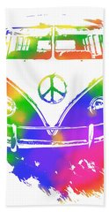 Rainbow Colored Peace Bus Beach Sheet