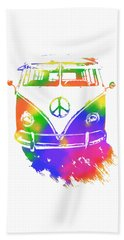 Beach Towel featuring the digital art Rainbow Colored Peace Bus by David King