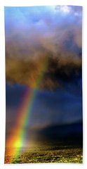 Rainbow During Sunset Beach Towel