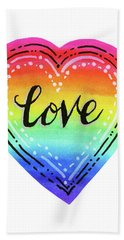 Rainbow Heart Love Beach Towel