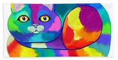 Rainbow Spectrum Cat Beach Towel