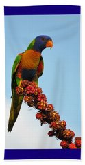 Rainbow Lorikeet Umbrella Tree Flowers Beach Sheet