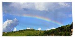 Rainbow Over Buck Island Lighthouse Beach Towel