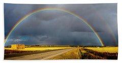 Rainbow Over Crop Land Beach Sheet