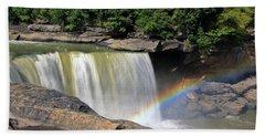 Beach Sheet featuring the photograph Rainbow Over Cumberland Falls by Angela Murdock