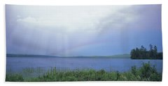 Rainbow Over Raquette Lake Beach Sheet