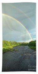 Rainbow Over The Littlefork River Beach Sheet