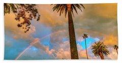 Rainbow Over The Palms Beach Sheet