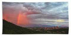 Rainbow Over Tucson Skyline Beach Towel