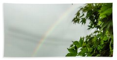 Rainbow With Leaves In Foreground Beach Sheet