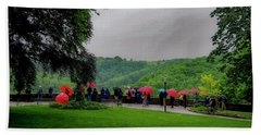 Beach Towel featuring the photograph Rainy Day Umbrellas by Phyllis Spoor