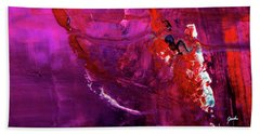 Rainy Day Woman - Purple And Red Large Abstract Art Painting Beach Towel