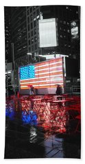 Rainy Days In Time Square  Beach Towel
