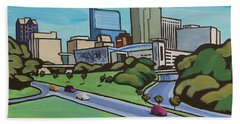 Raleigh Skyline Cartoon 16 X 20 Ratio Beach Towel
