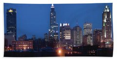 Raleigh Skyline Night Photo 16 X 20 Ratio Beach Towel