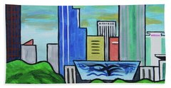 Raleigh Skyline No Perspective 16 X 20 Ratio Beach Towel