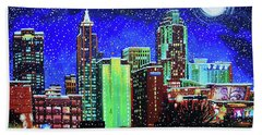 Raleigh Skyline Winter Night 16 X 20 Ratio Beach Towel