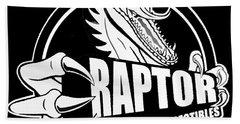 Raptor Comics Black Beach Towel