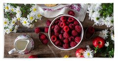 Beach Towel featuring the photograph Raspberry Breakfast by Top Wallpapers