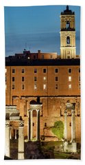 Beach Towel featuring the photograph Rear View Of The Campidoglio by Fabrizio Troiani