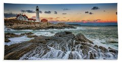Beach Towel featuring the photograph Receding Cascade At Portland Head by Rick Berk