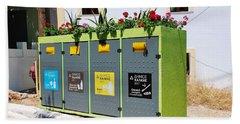 Recycling Bins On Halki Island Beach Towel