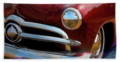 Red 1950 Ford Traditional Custom Beach Towel