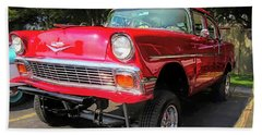 Red 1956 Chevy Gasser Beach Towel