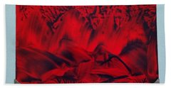 Red And Black Encaustic Abstract Beach Towel