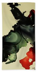 Red And Black Ink Blot I Beach Towel