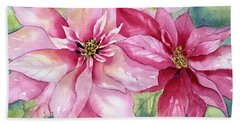 Red And Pink Poinsettias Beach Sheet