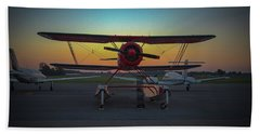 Red Biplane At Dawn Beach Sheet