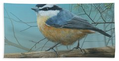 Red Brested Nuthatch Beach Towel