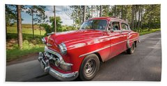 Red Classic Cuban Car Beach Sheet
