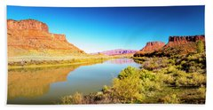 Beach Towel featuring the photograph Red Cliffs Canyon Panoramic by David Morefield
