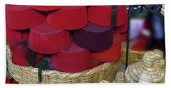 Red Fez Tarbouche And White Wicker Tagine Cookers Beach Towel