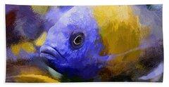 Red Fin Borleyi Cichlid Artwork Beach Towel