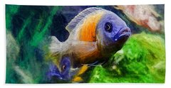Red Fin Borleyi Cichlid Beach Towel