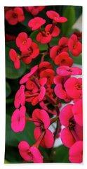 Red Flowers In Bloom Beach Towel