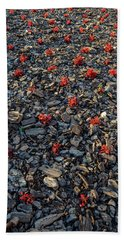 Red Flowers Over Stones Beach Towel