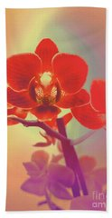 Beach Towel featuring the mixed media Red Orchid  by Rachel Hannah