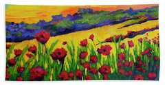 Red Poppies In Spring Beach Towel