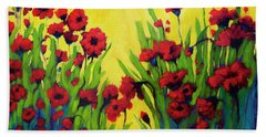 Red Poppy Field In Summer Beach Towel
